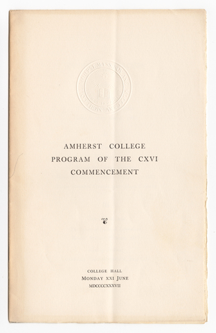 Amherst College Commencement program, 1937 June 21