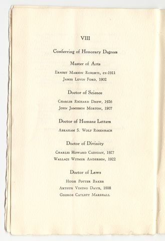 Amherst College Commencement program, 1947 June 15