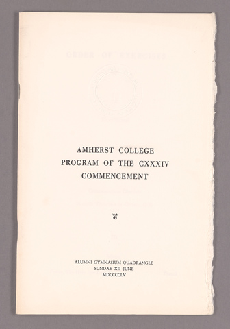 Amherst College Commencement program, 1955 June 12