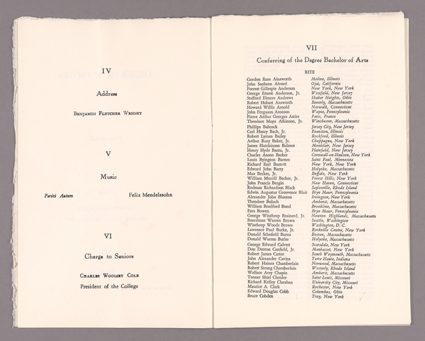 Amherst College Commencement program, 1950 June 11