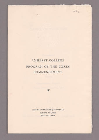 Amherst College Commencement program, 1949 June 12