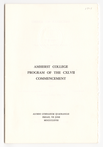 Amherst College Commencement program, 1968 June 7