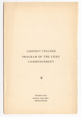 Amherst College Commencement program, 1943 May 23