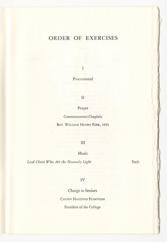 Amherst College Commencement program, 1961 June 11