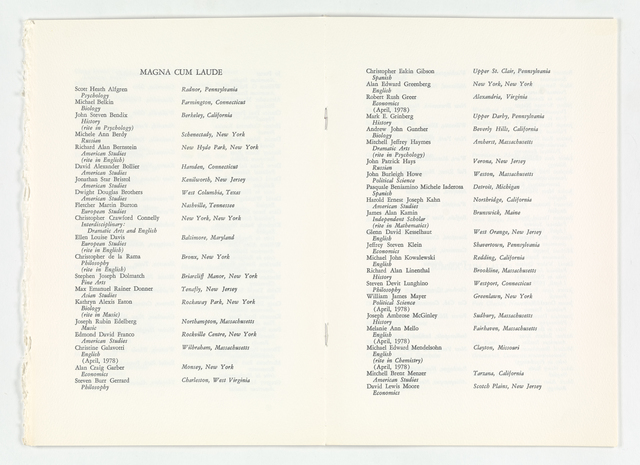 Amherst College Commencement program, 1978 May 28