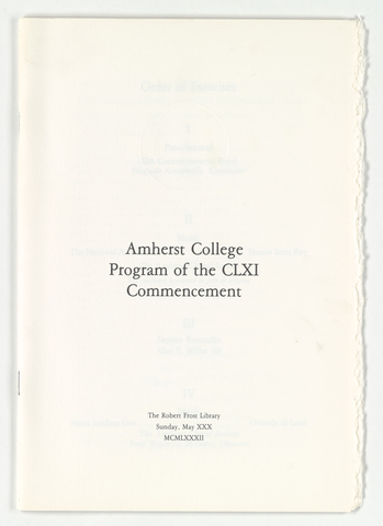 Amherst College Commencement program, 1982 May 30