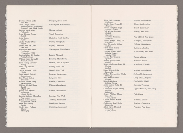 Amherst College Commencement program, 1976 June 6