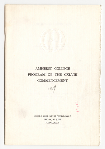 Amherst College Commencement program, 1969 June 6