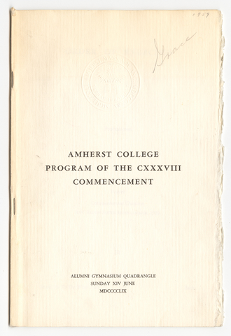 Amherst College Commencement program, 1959 June 14