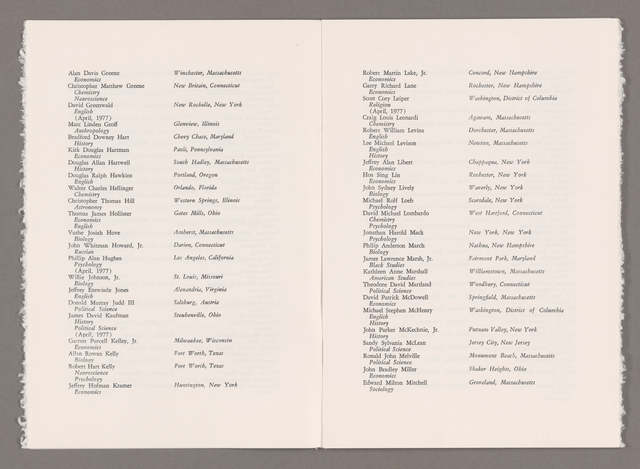 Amherst College Commencement program, 1977 May 29