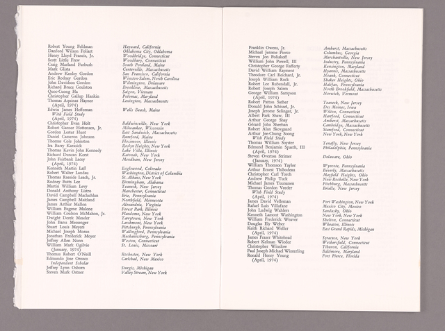 Amherst College Commencement program, 1974 June 7