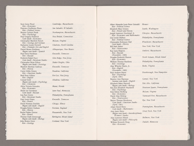 Amherst College Commencement program, 1981 May 31