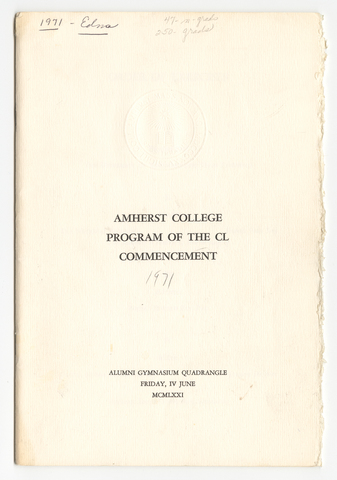 Amherst College Commencement program, 1971 June 4