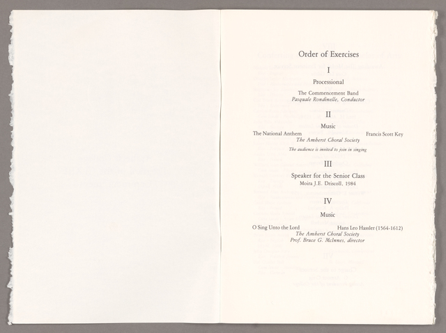 Amherst College Commencement program, 1984 May 27