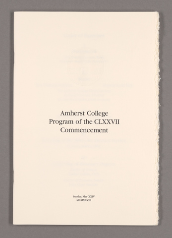 Amherst College Commencement program, 1998 May 24