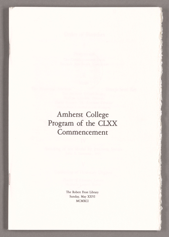 Amherst College Commencement program, 1991 May 26