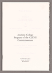 Amherst College Commencement program, 1988 May 29