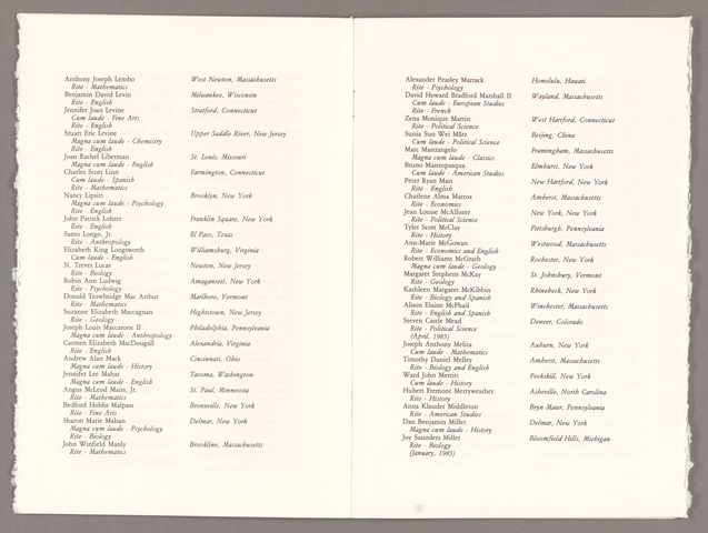 Amherst College Commencement program, 1985 May 26