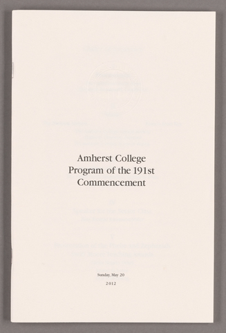 Amherst College Commencement program, 2012 May 20