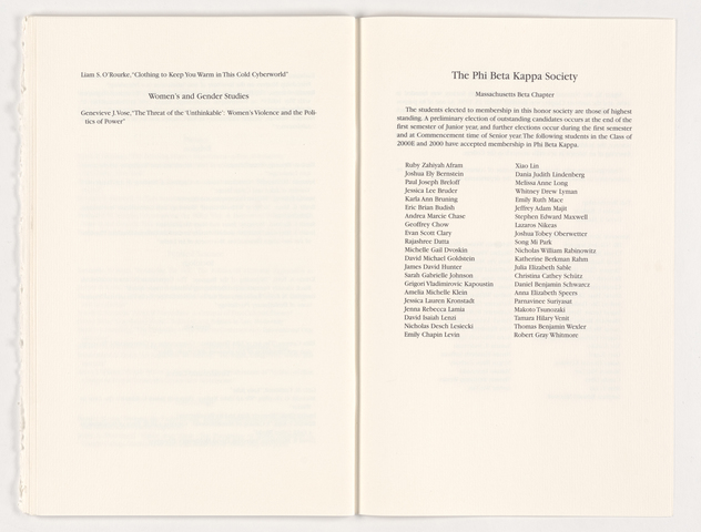Amherst College Commencement program, 2000 May 21