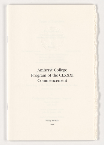 Amherst College Commencement program, 2002 May 26
