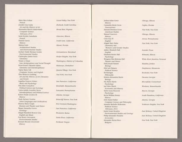 Amherst College Commencement program, 2014 May 25