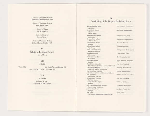 Amherst College Commencement program, 2004 May 23