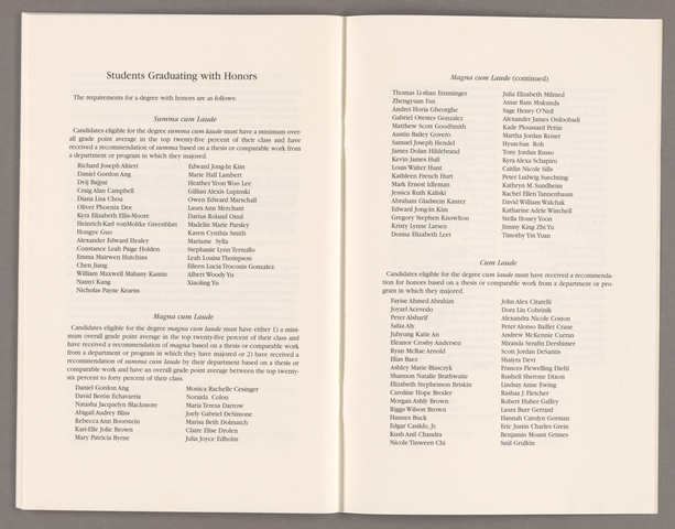 Amherst College Commencement program, 2015 May 24