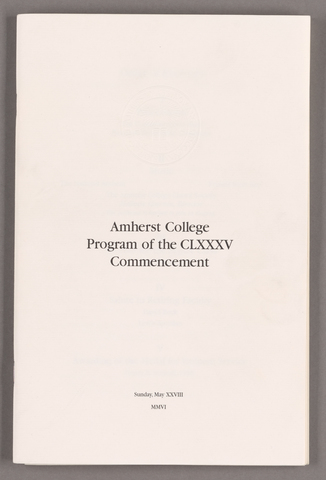 Amherst College Commencement program, 2006 May 28