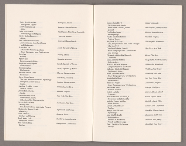 Amherst College Commencement program, 2013 May 26