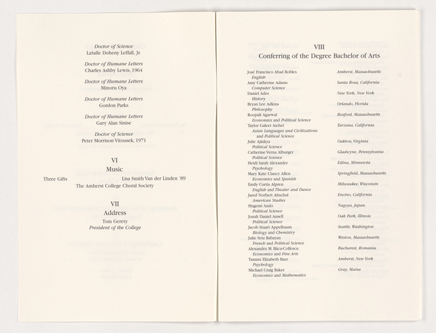 Amherst College Commencement program, 2003 May 25
