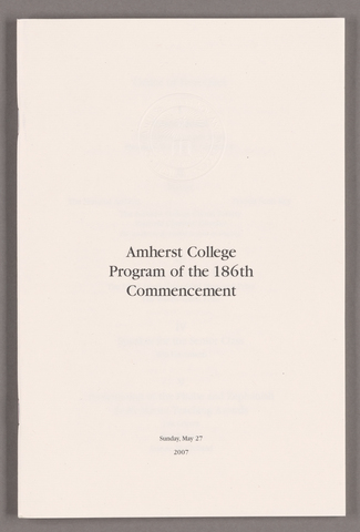 Amherst College Commencement program, 2007 May 27
