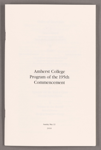 Amherst College Commencement program, 2016 May 22