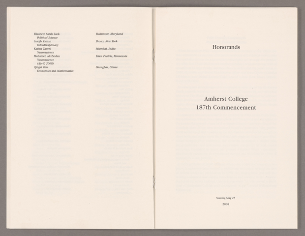 Amherst College Commencement program, 2008 May 25