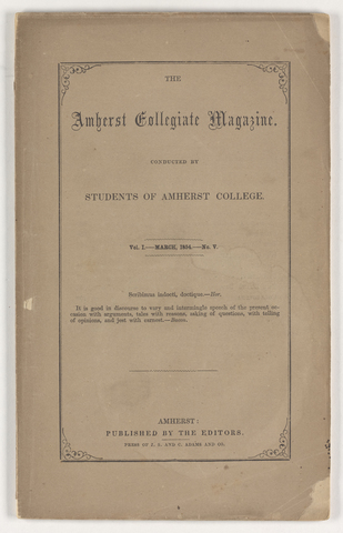 Amherst collegiate magazine, 1854 March