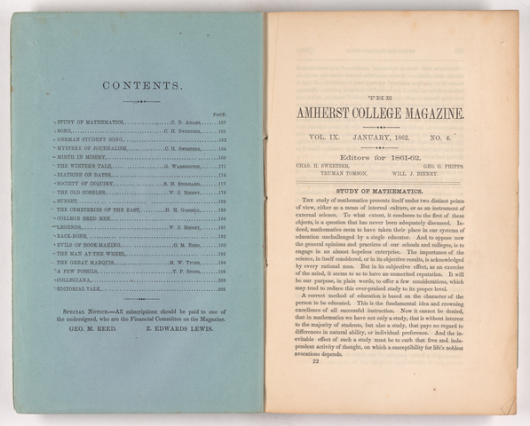 Amherst College magazine, 1862 January