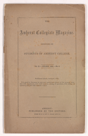 Amherst collegiate magazine, 1854 October