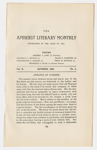Amherst literary monthly, 1895 October