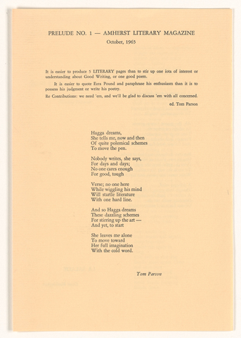 Amherst literary magazine prelude, 1965 October