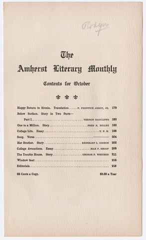 Amherst literary monthly, 1909 October
