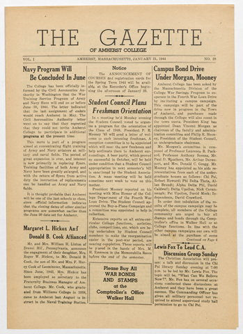 gazette of Amherst College, 1944 January 21