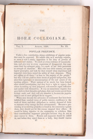 horae collegianae, 1838 August