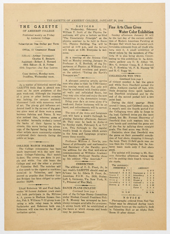 gazette of Amherst College, 1944 January 28