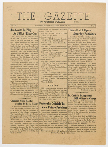 gazette of Amherst College, 1944 April 28