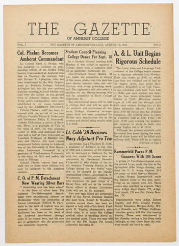 gazette of Amherst College, 1943 August 13