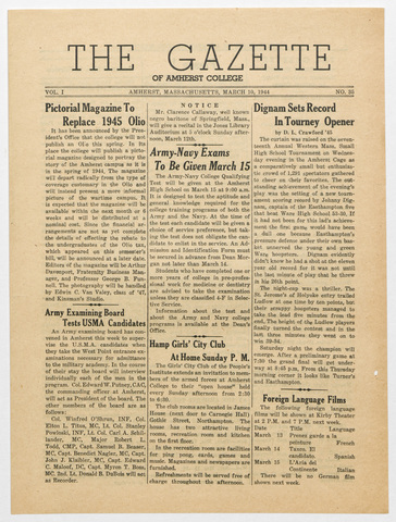 gazette of Amherst College, 1944 March 10
