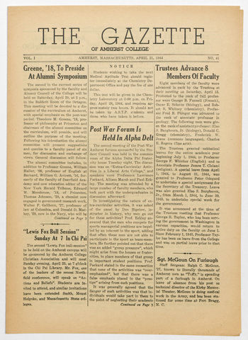 gazette of Amherst College, 1944 April 21