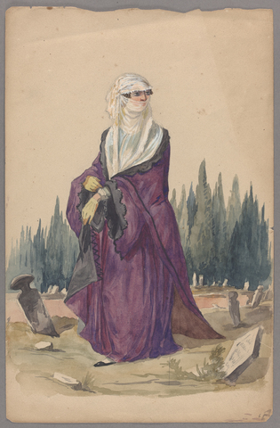 Henry John Van Lennep watercolor painting of a woman wearing a yashmak