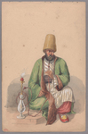 Henry John Van Lennep watercolor painting of seated man smoking a nargile