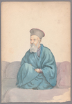 Henry John Van Lennep watercolor painting of seated man in blue robe